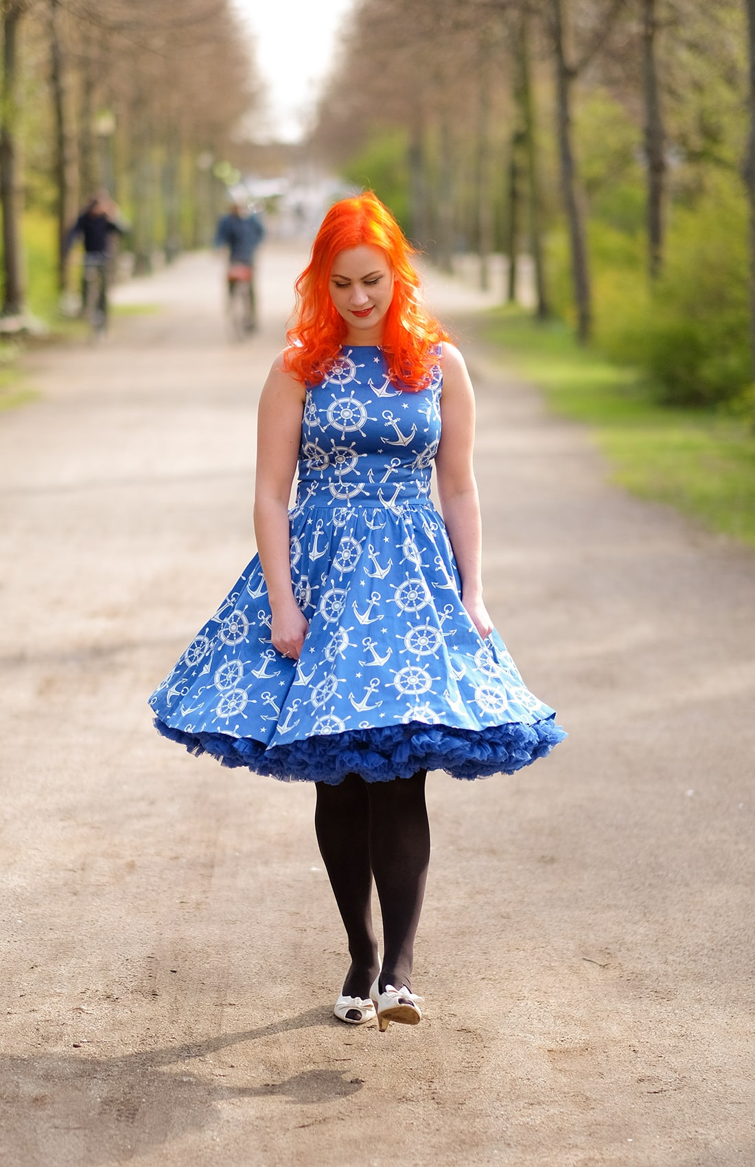 AlexiaDahl.com - A Lady Vintage nautical print dress and two petticoats