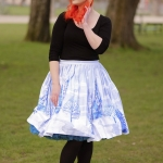 A lovely Pinup Couture Jenny Skirt in Ice Castle Snowflake Print