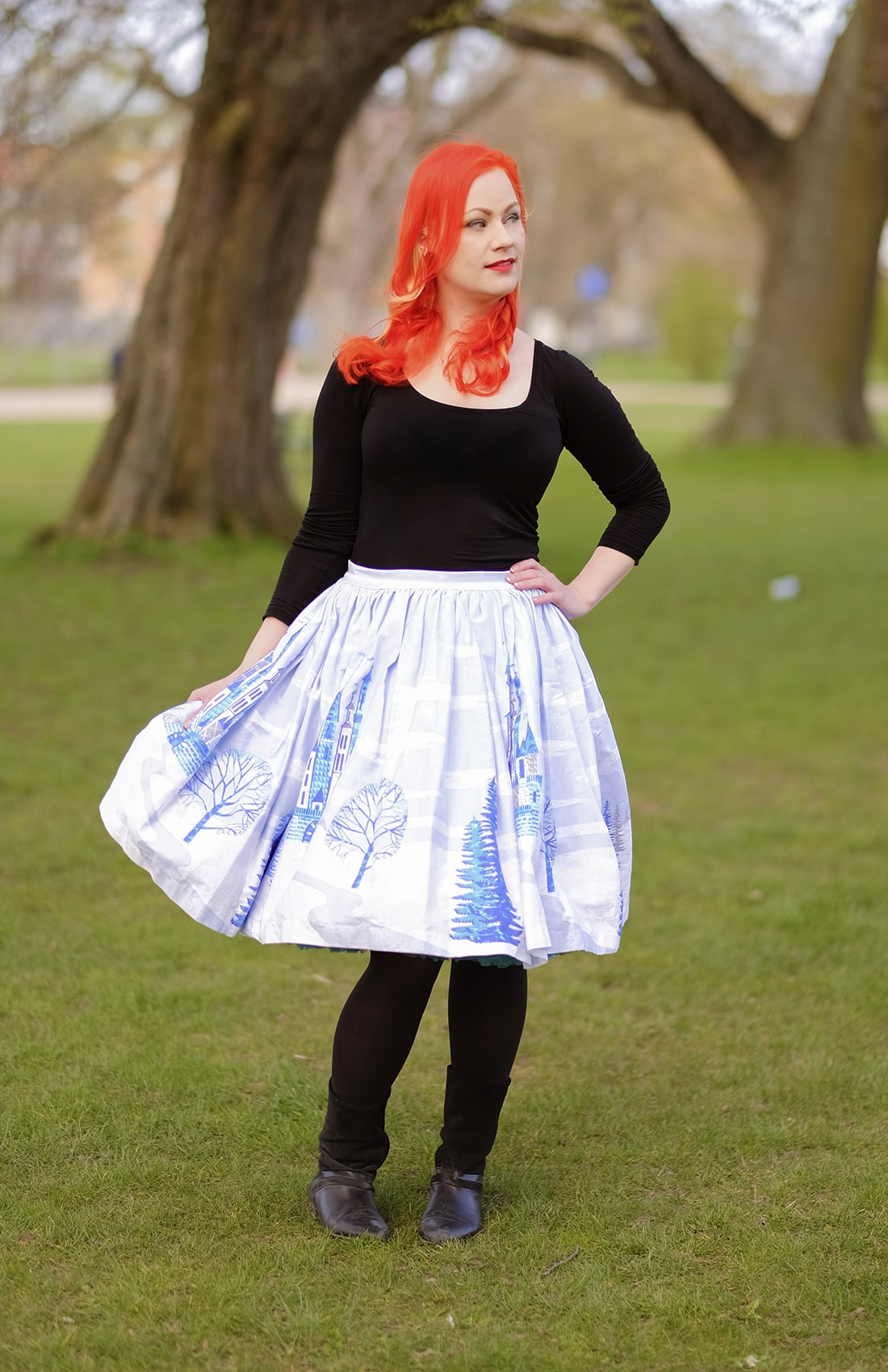 AlexiaDahl.com - Pinup Couture Jenny Skirt in Ice Castle Snowflake Print