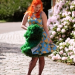 A Lady Vintage Banana tea dress and a green Malco Modes Petticoat