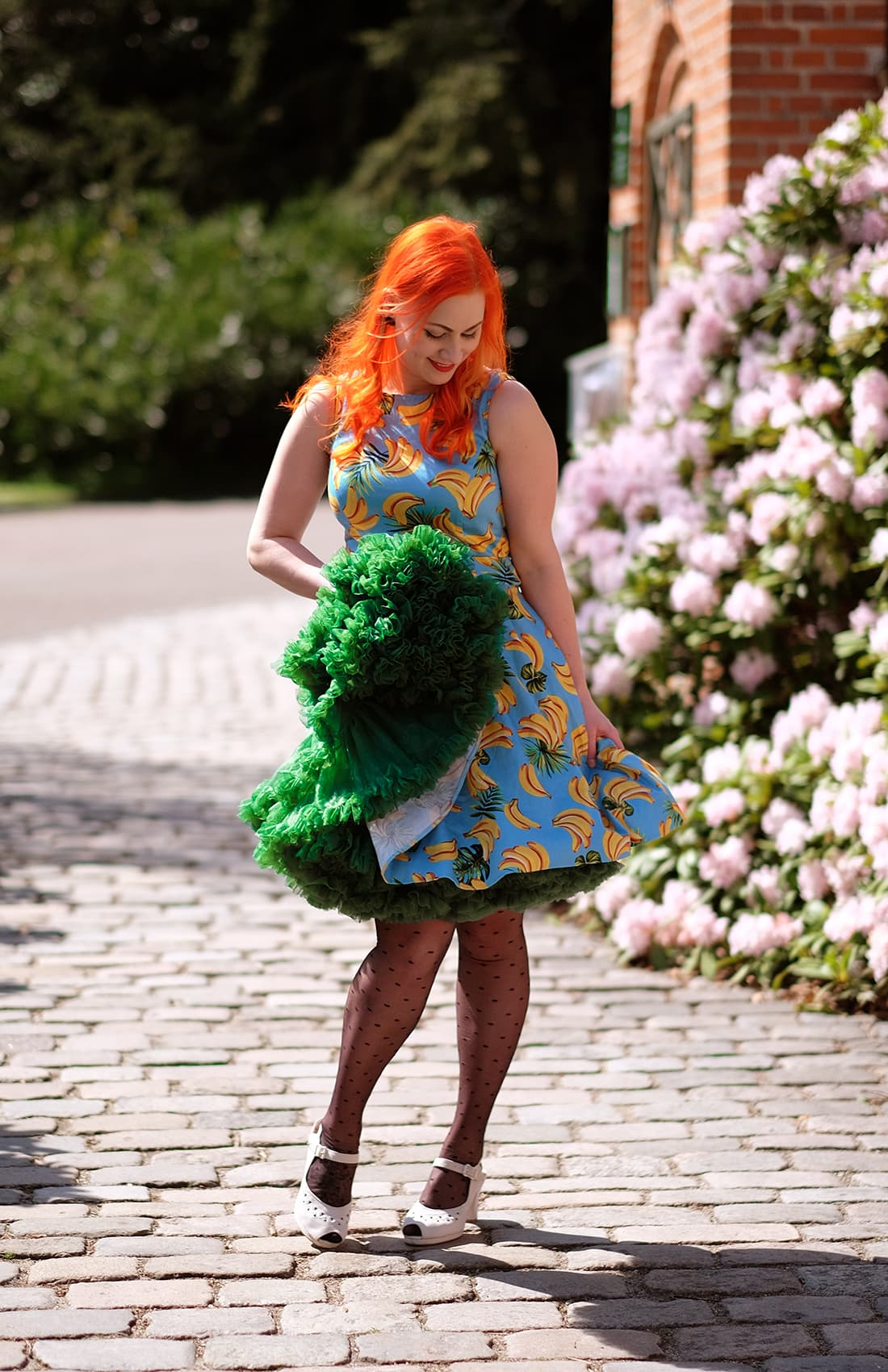 AlexiaDahl.com - Lady Vintage Banana tea dress and green Malco Modes Petticoat