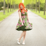 Pinup Couture Peasant Dress in Black and Pink Floral Sateen