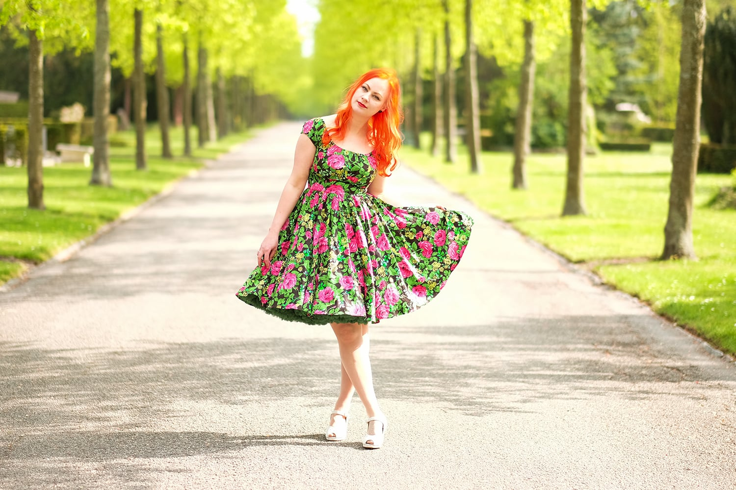 AlexiaDahl.com - Pinup Couture Peasant Dress in Black and Pink Floral Sateen