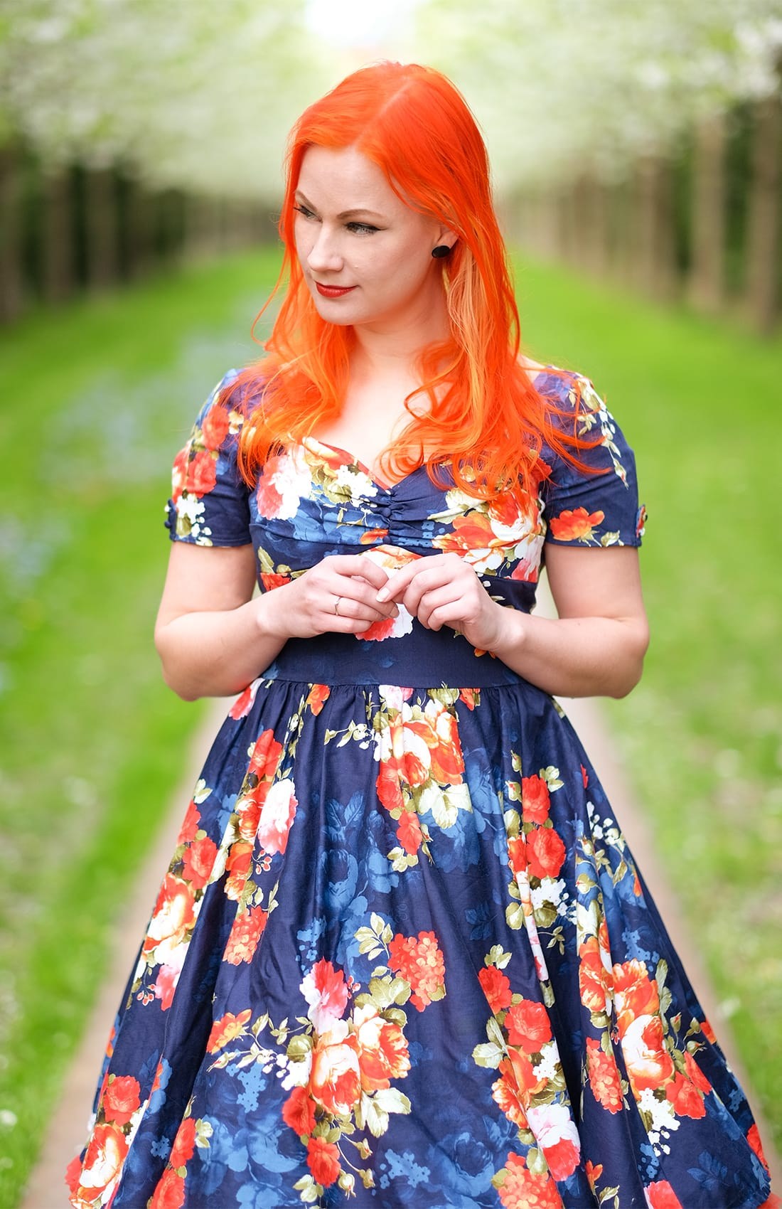 AlexiaDahl.com - A navy floral Unique Vintage dress