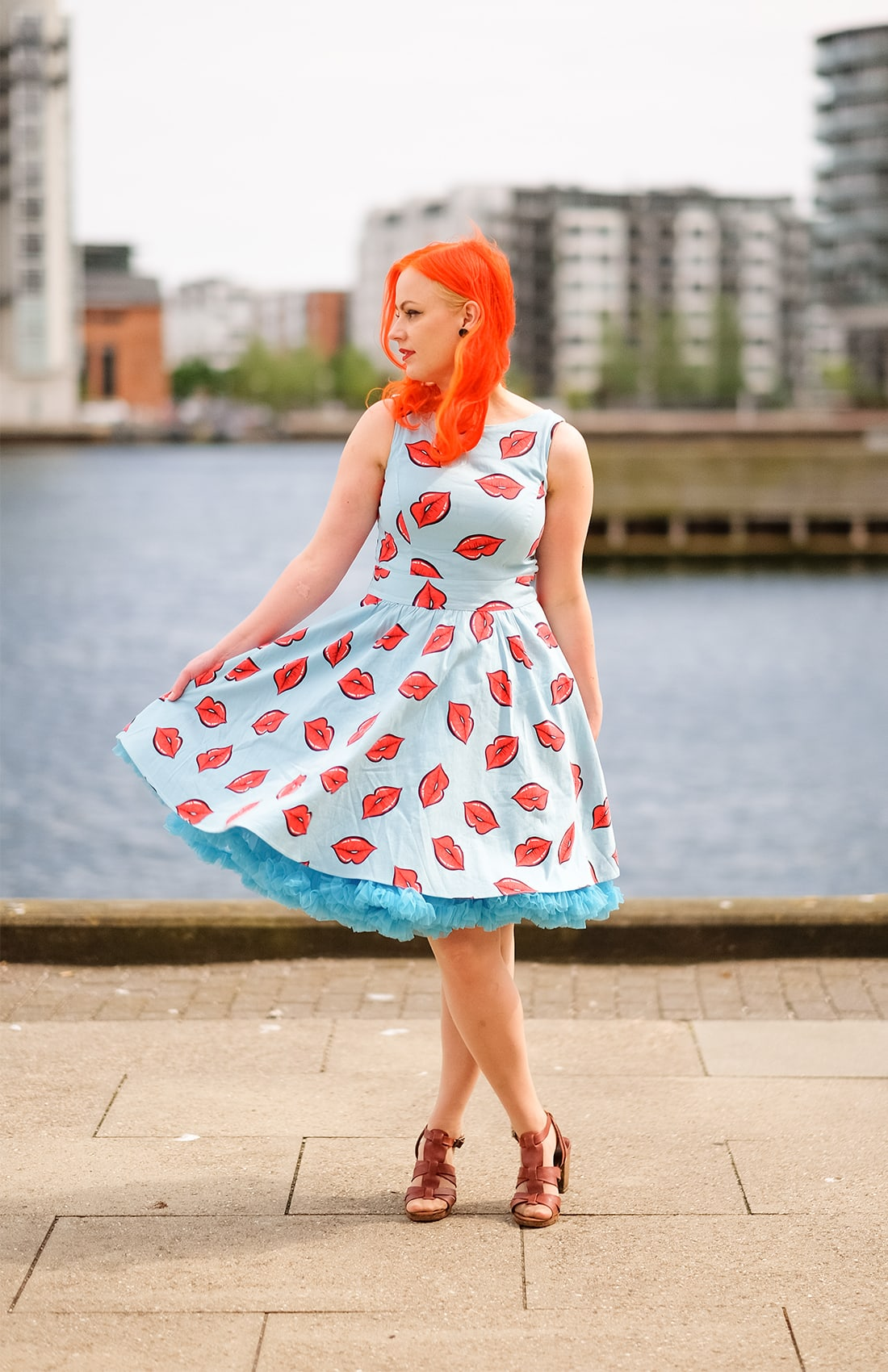 A pastel blue petticoat by Banned Apparel and a Lady Vintage dress