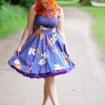A floral Lady V London dress and a purple petticoat from Doris Designs