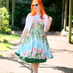 A Lady V London Flamingo border dress and a green petticoat from Malco Modes