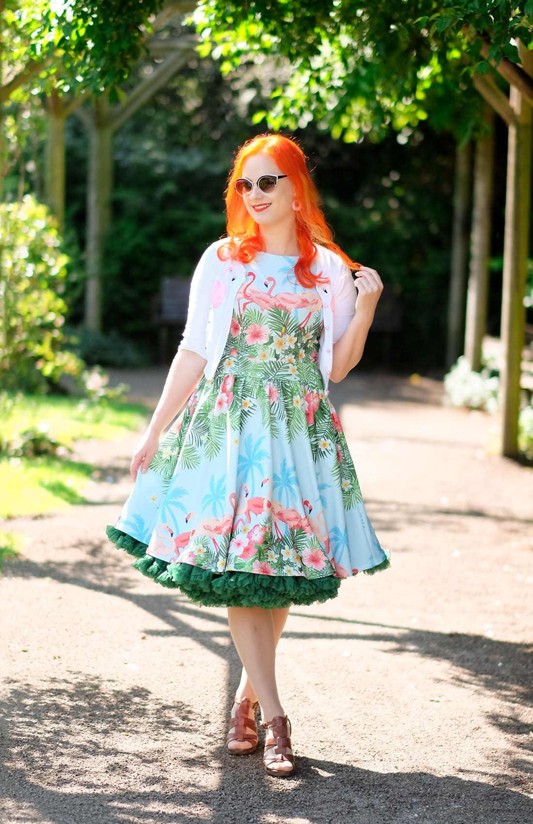 AlexiaDahl.com - Lady V London Flamingo Border dress and a Malco Modes petticoat