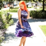 The Twilight flamingo border tea dress by Lady V London and a Doris Designs petticoat