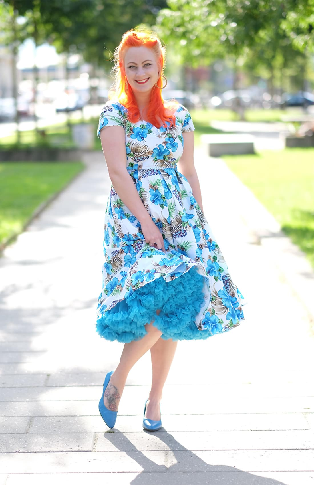 AlexiaDahl.com - Dolly and Dotty hibiscus dress and a cornflower blue Doris Designs Petticoat