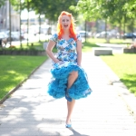 A Dolly and Dotty hibiscus dress and a cornflower blue Doris Designs petticoat