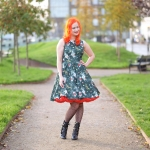 A Lady V London Roses & Pomegranate Buds tea dress and a red Sams Petticoat