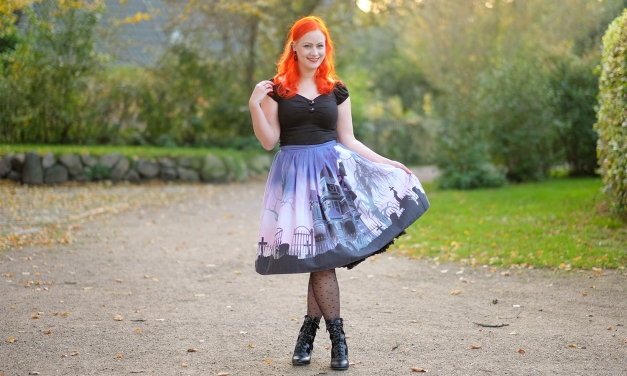 A spooky Halloween outfit in a Unique Vintage Haunted Mansion skirt