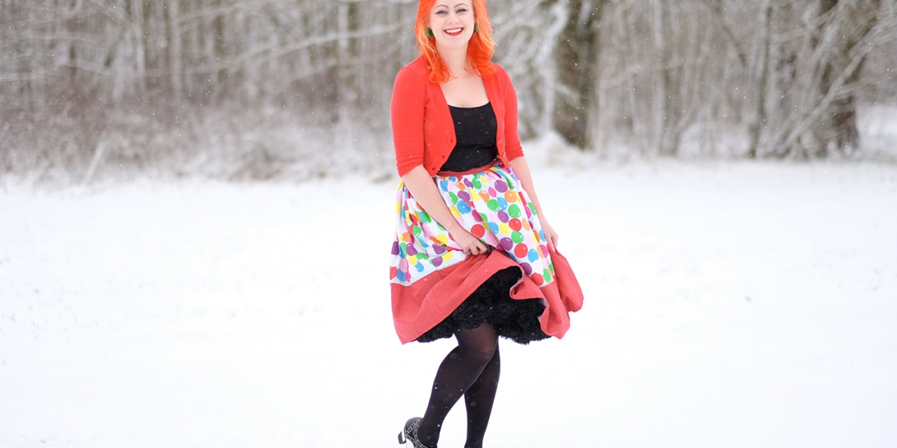 Bubblegums in Winter wonderland – In a Unique Vintage bubblegum skirt