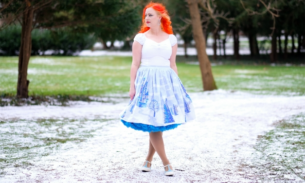 A Pinup Girl Clothing winter wonderland skirt, and a Doris Designs Petticoat
